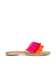 / Suede leather sandals red multi
