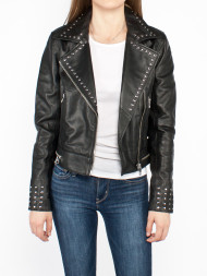 CALVIN KLEIN / Studded biker leather jacket black