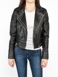 BE EDGY / Studded biker leather jacket black