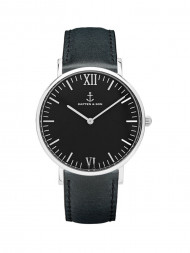 KAPTEN & SON / Campus leather watch silver all black