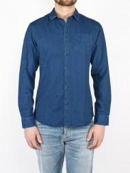 tigha / SHnwobroken denim shirt dark blue