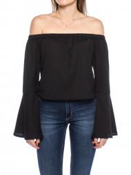 mbym / Off shoulder woven shirt black