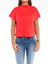 NA-KD / High neck cap sleeve top red