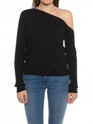 mbym / Ribbed shirt off shoulder black