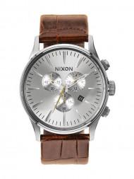 NIXON / Sentry chrono watch leather saddle