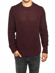 Nudie Jeans co / Basket knit pullover plum