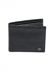 Nudie Jeans co / Button leather wallet black