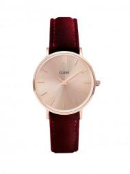 CLUSE / La minuit velvet watch rosé gold red