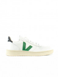 Veja / V-10 leather sneaker white green black