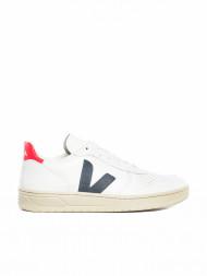 Veja / V-10 leather sneaker white blue red