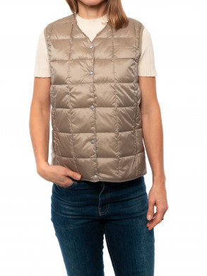 Crew neck down vest khaki