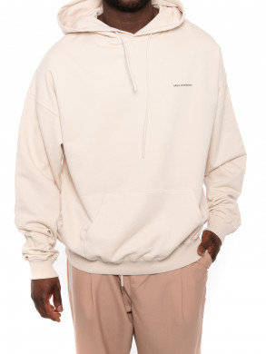 Classic slogan embroidered hoodie sand