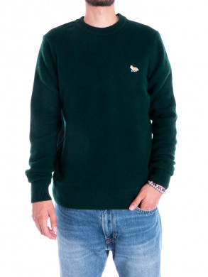 Baby fox patch pullover dk green