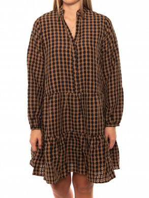 Federica airy dress check camel