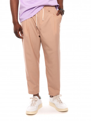 Wool cropped pants taupe