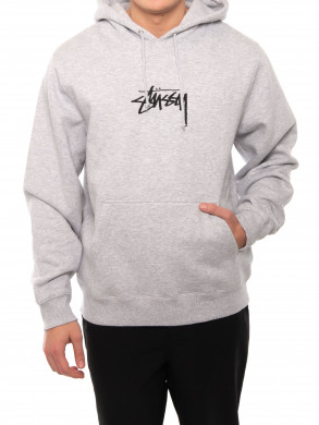 Stock logo applique hoodie ash heather