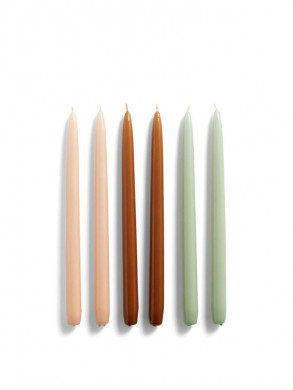 Candle conical 6pcs peach caramel mint