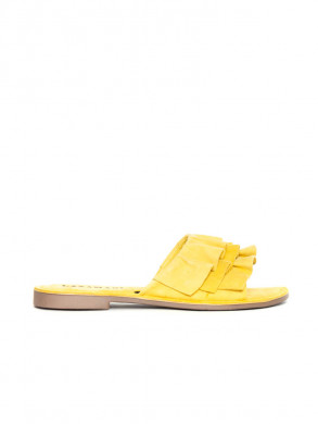 Suede leather sandals yellow