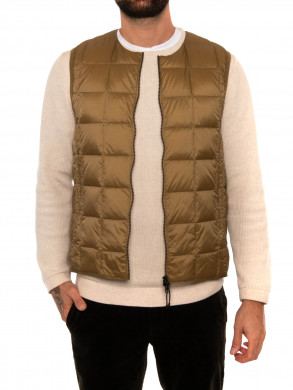 Crew neck down vest beige