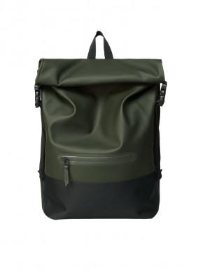 Buckle rolltop backpack green