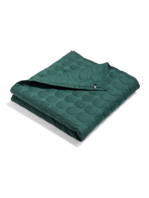 Mega dot quilted bed cover dark green