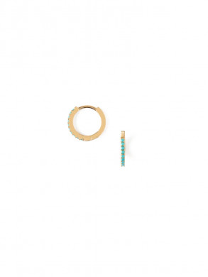 Mini pave hoops turquoise OS