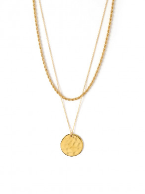 Rope and coin two row necklace