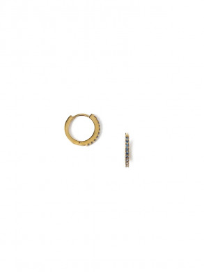 Indian sapphire mini pave hoops
