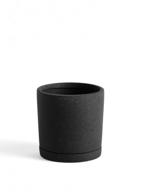 Plant pot with saucer M black