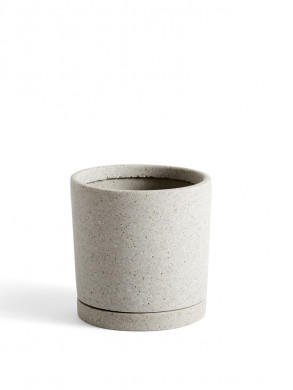 Plant pot with saucer M grey