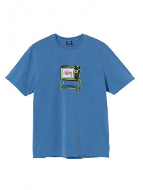 Rolling tv pig dyed t-shirt blue