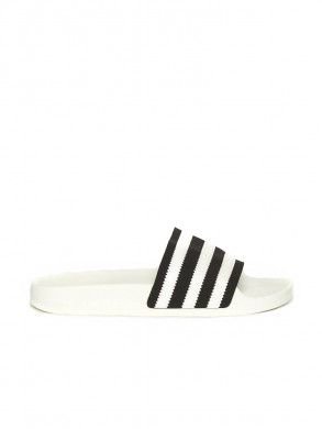Adilette sandals leather white black