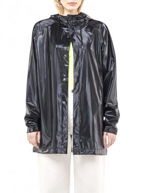 Short rain coat shiny black