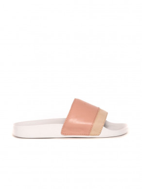 Slides leather sandals craie nude