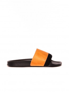 Slides leather sandals black natur