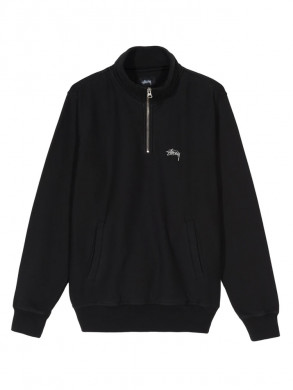 Stock logo mock zip sweatshirt black