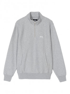 Stock logo mock zip sweatshirt heather
