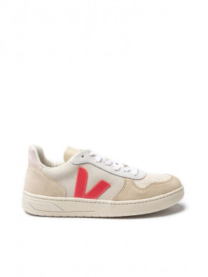 V-10 suede sneaker natural rose fluo