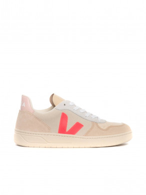 V10 suede sneaker natural rose fluo