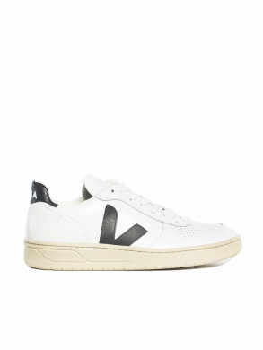 V-10 leather sneaker white black