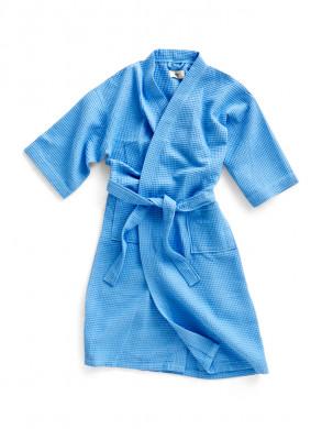 Waffle bathrobe sky blue