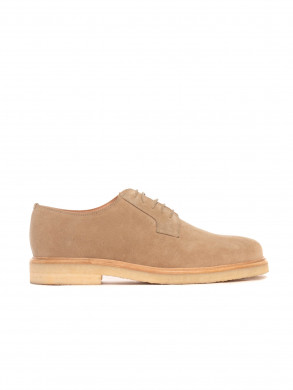 Derby shoe suede savane