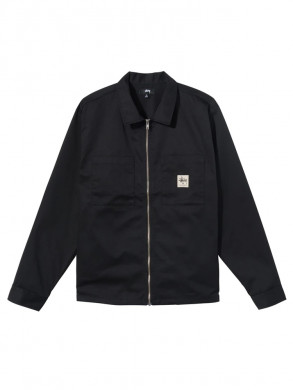 Zip up work ls shirt black