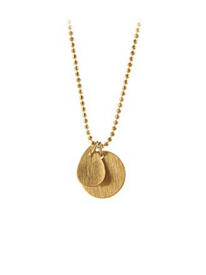 Coin and drop necklace gold