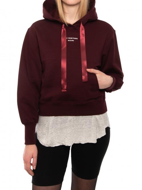 Nfpm cropped hoodie burgundy