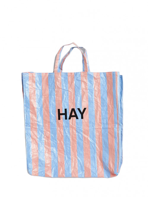 Candy stripe shopper XL blue and orange