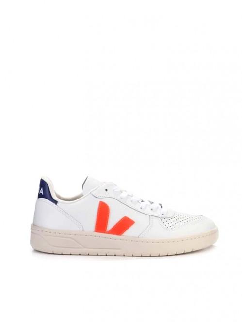 V-10 leather sneaker wht orange cob