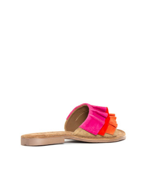 Suede leather sandals red multi 2 - invisable
