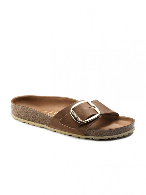 Madrid big buckle sandals cognac