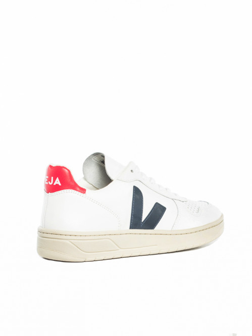 V-10 leather sneaker white blue red